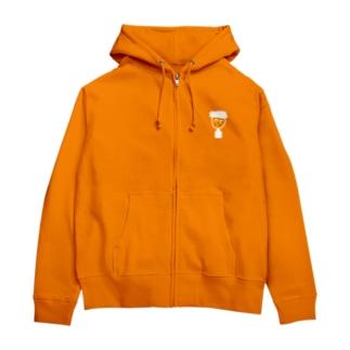 オレンジマンジップパーカー Zip Hoodies
