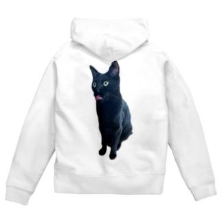 うちの猫:名前はボス、呼び方はけっけ タオルハンカチ Zip Hoodies