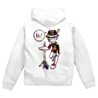 「Hi!」ハット Zip Hoodies