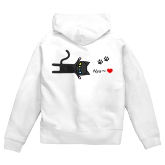 黒猫Nya~! Zip Hoodies