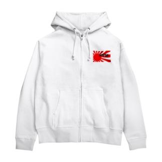I♡ JAPAN (,,゚Д゚) ガンガレ!日本! Zip Hoodies