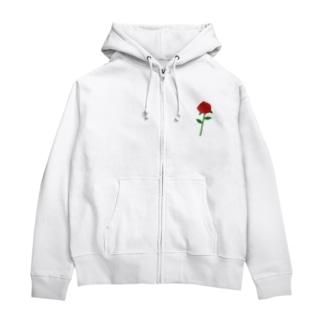 一輪の赤いバラ Zip Hoodies