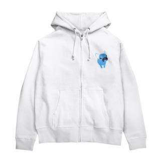 NIKORASU GOのフレンチブルデザイン「見上げてみる」 Zip Hoodies