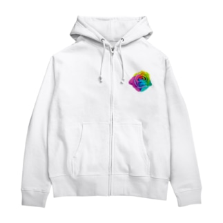 Rainbow rose(Single) Zip Hoodies