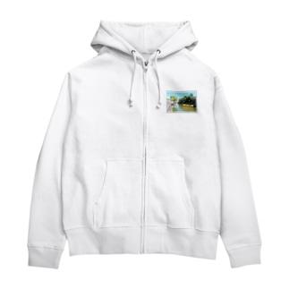 日本の城:高島城★白地の製品だけご利用ください!! Japanese castle: Takashima castle/ Suwa★Recommend for white base products only !! Zip Hoodies