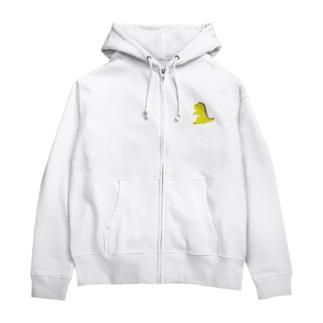 ドット恐竜 1匹 黄色 イエロー Zip Hoodies