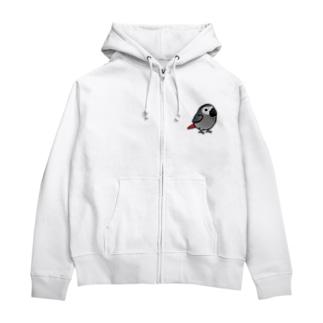 (両面)Chubby Bird (表) ヨウム (背面)コンゴウインコ、オキナインコ、ヨウム、マメルリハ、オカメインコ、セキセイインコ、ちょっと意地悪なコザクラインコ (黒のパーカーは黒の文字が見えづらい為、選択しないようお願いします。)  Zip Hoodies