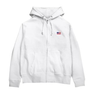 大のアメリカ国旗 胸ロゴ Zip Hoodies