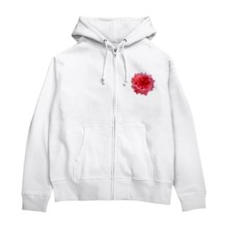 爛々と咲く濃いピンクの薔薇 Zip Hoodies