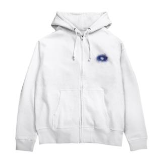 HIBIKI SATO Official Arts.のスネア打痕 BLUE Zip Hoodies