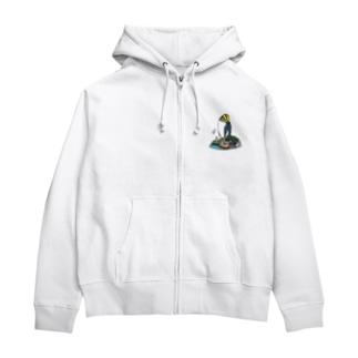 キガシラペンギン Zip Hoodies