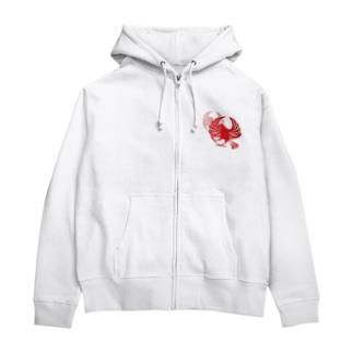 文鳥紋~紅 Zip Hoodies