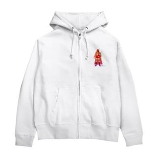 Red Rucha Zip Hoodies