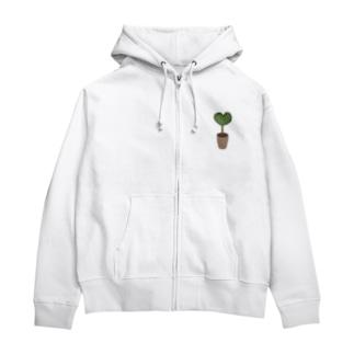 ハート♥グリーンの植木鉢 Zip Hoodies