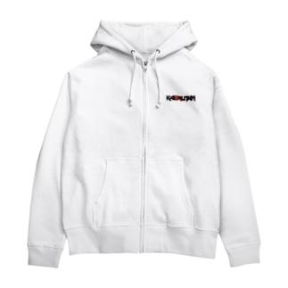 【ジップパーカー】KAERUTAN-ロゴ Tシャツ(ロゴ小さめ) - IRON Zip Hoodies