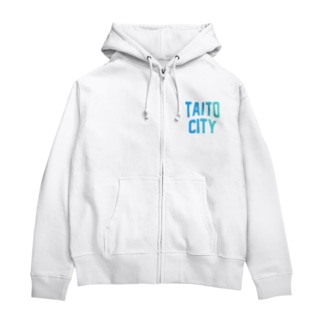 台東区 TAITO CITY ロゴブルー Zip Hoodies