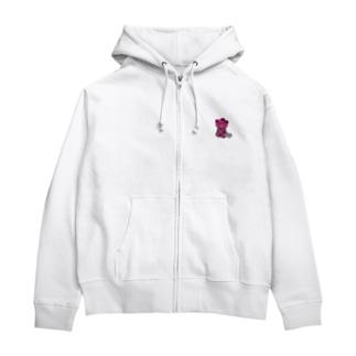 BASEfor Bear Pink Zip Hoodies
