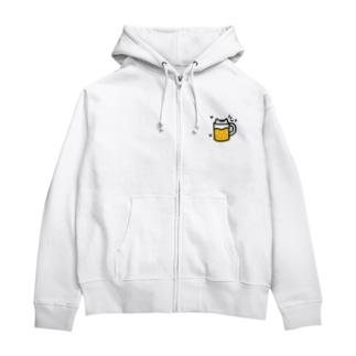 猫ビール(白猫) Zip Hoodies
