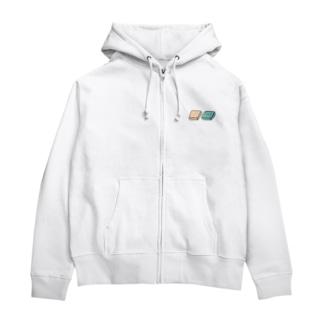 四角いグミ【白/青生地用カラー】 Zip Hoodie