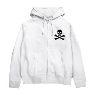 海賊旗スカル-Jolly Roger サミュエル・ベラミーの海賊旗-黒ロゴ Zip Hoodies