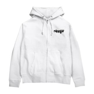 nippperロゴ/ブラック Zip Hoodie