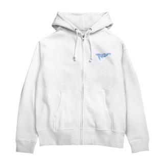 Whale In The Sea Animal(青) Zip Hoodies