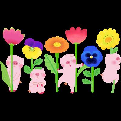 ブタとお花