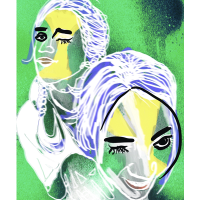 緑アート落書き女の子デザイン