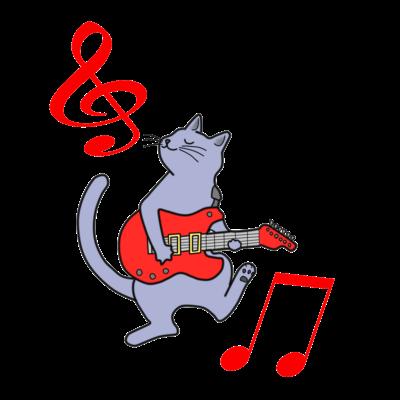 赤いギターを弾く猫