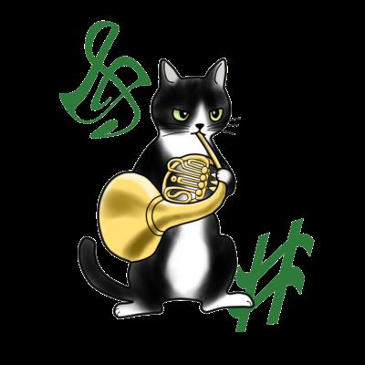 ホルンを吹く猫