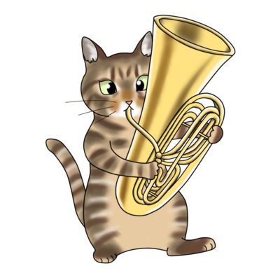 チューバを鳴らす猫
