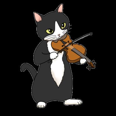 バイオリンを弾く猫