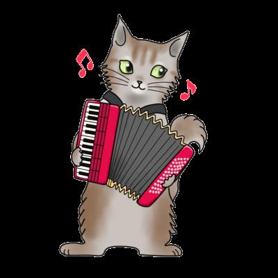 アコーディオンを弾く猫