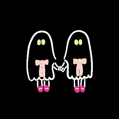 おばけちゃんシスターズ(白フチ/pink)
