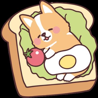 パンとコーギー