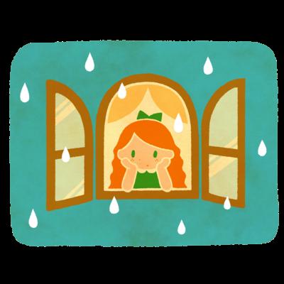 雨をながめる女の子