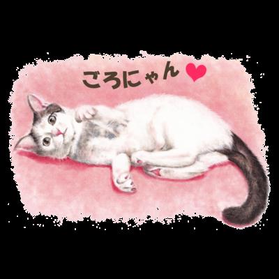 猫パステル画