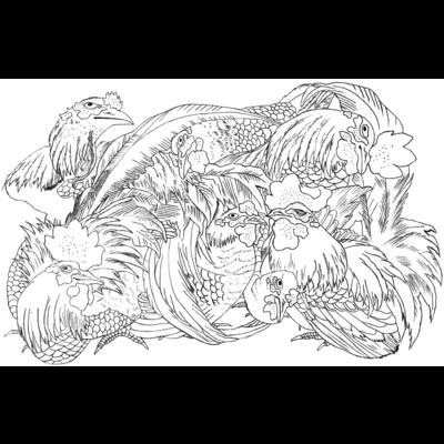 日本の美 葛飾北斎「群鶏」モノクロ版