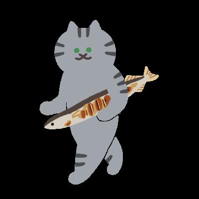 盗んだ焼きサンマと歩き出す猫
