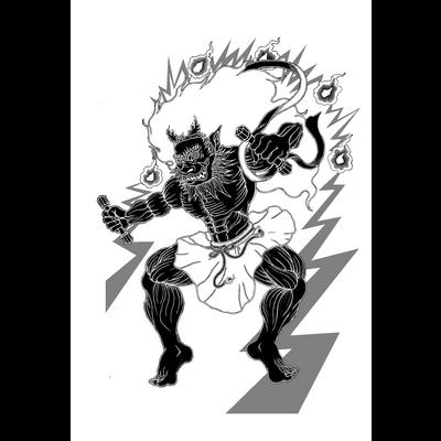 白黒雷神之図