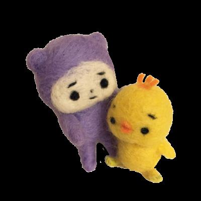 紫の子と黄色の子