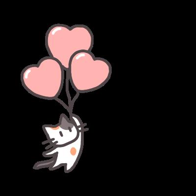 ハートの風船で浮かぶ三毛猫