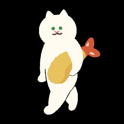 エビフライをさわやかに持ち運ぶ猫