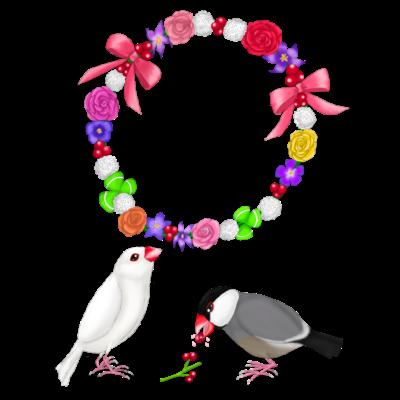 花冠と文鳥ず