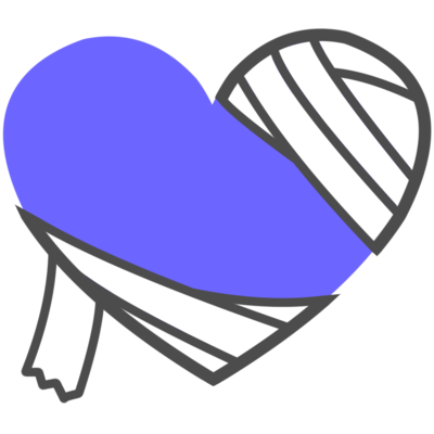ハート 包帯 青