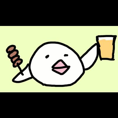 乾杯の音頭をとる白文鳥です