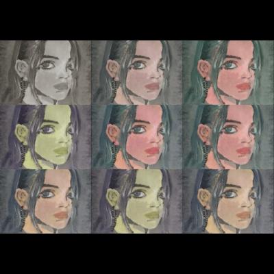 acrylic painting ポニーテールの女の子 lines