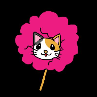 ピンク三毛猫 わたあめにゃんこ