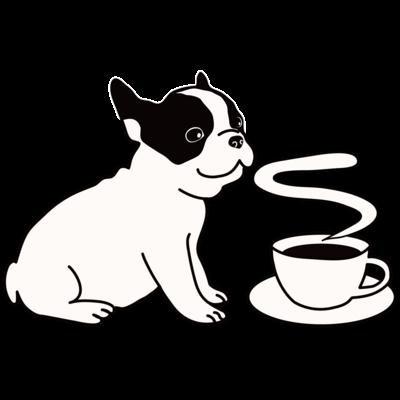 フレンチブルドッグとコーヒー