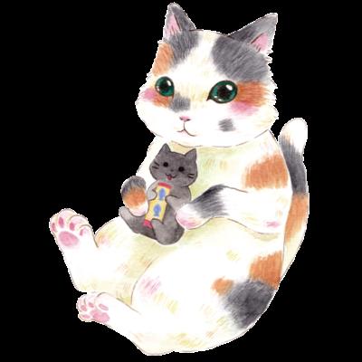 ぬいぐるみぎゅっ 三毛猫